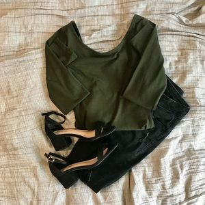 H&M Olive Green Boatneck Body Suit - Size: XS NWT!
